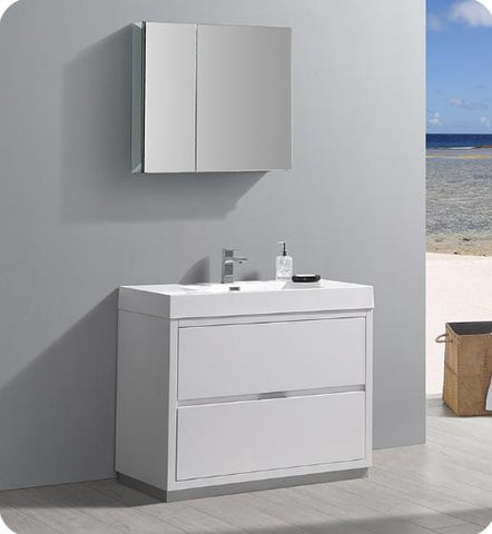 "Image of Fresca Valencia 40"" Glossy White Free Standing Modern Bathroom Vanity with Medicine Cabinet - Bathroom Vanity Portal"