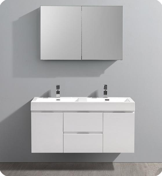 "Fresca Valencia 48"" Glossy White Wall Hung Double Sink Modern Bathroom Vanity with Medicine Cabinet - Bathroom Vanity Portal"