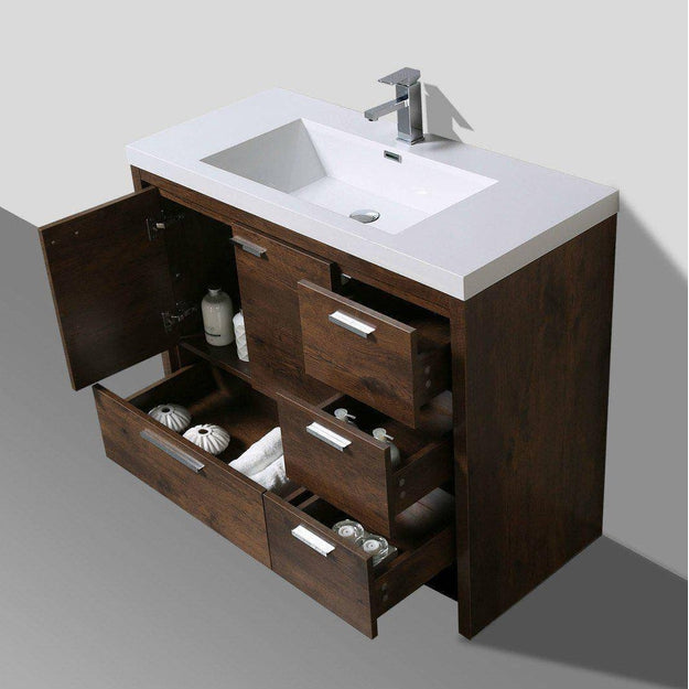 "Moreno Mod 42"" Rosewood Modern Bathroom Vanity W/ Right Side Drawers - Bathroom Vanity Portal"