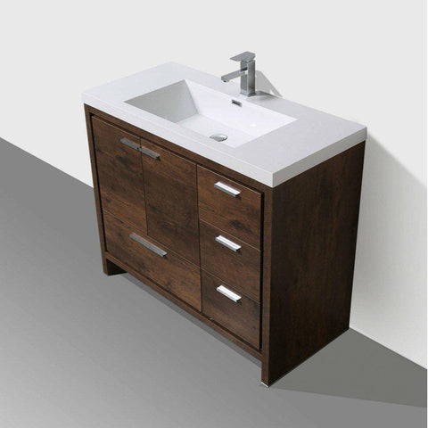 "Image of Moreno Mod 42"" Rosewood Modern Bathroom Vanity W/ Right Side Drawers - Bathroom Vanity Portal"