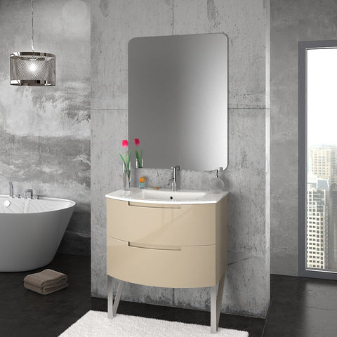 "LaToscana Oasi 29"" Wall Mount Single Modern Glossy Bathroom Vanity in Sand"