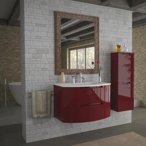 "LaToscana Oasi 39"" Wall Mount Single Modern Glossy Bathroom Vanity in Red"