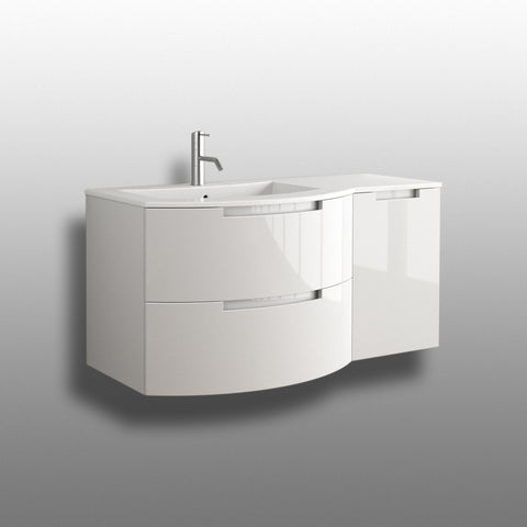 "LaToscana Oasi 43"" Wall Mount Single Modern Bathroom Vanity with Two Soft Closing Drawers and Right Side Cabinet in White"