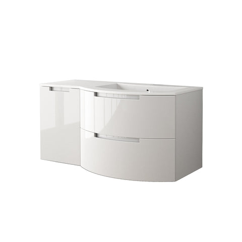 "LaToscana Oasi 43"" Wall Mount Single Modern Bathroom Vanity with Two Soft Closing Drawers and Left Side Cabinet in White"