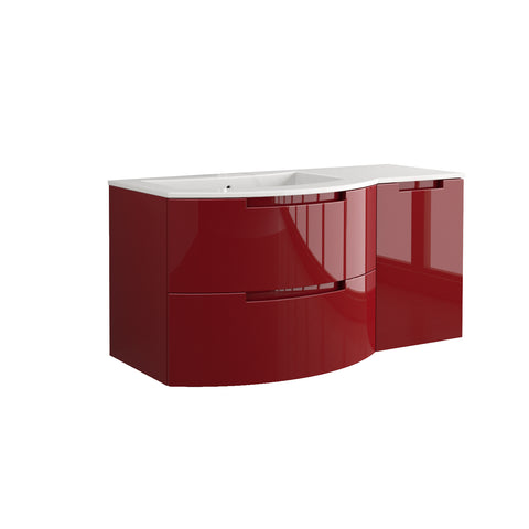 "LaToscana Oasi 53"" Wall Mount Single Modern Bathroom Vanity with Two Soft Closing Drawers and Right Side Cabinet in Red"