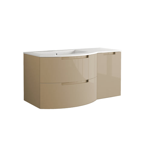 "LaToscana Oasi 53"" Wall Mount Single Modern Bathroom Vanity with Two Soft Closing Drawers and Right Side Cabinet in Sand"