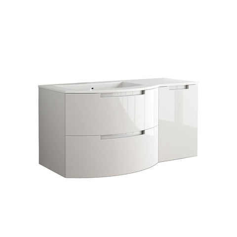 "LaToscana Oasi 53"" Wall Mount Single Modern Bathroom Vanity with Two Soft Closing Drawers and Right Side Cabinet in White"