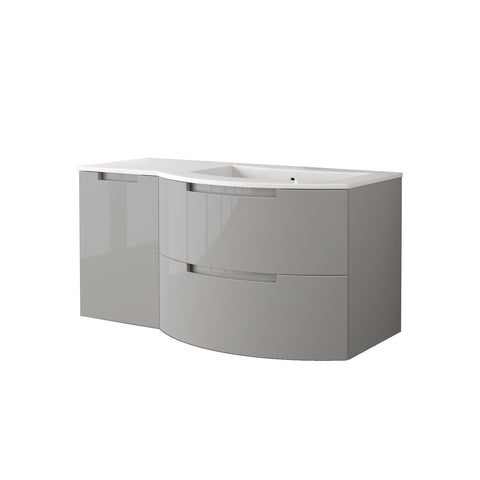 "LaToscana Oasi 53"" Wall Mount Single Modern Bathroom Vanity with Two Soft Closing Drawers and Left Side Cabinet in Grey"