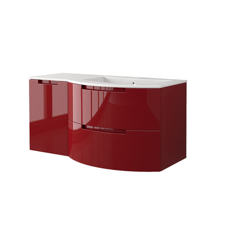 "LaToscana Oasi 53"" Wall Mount Single Modern Bathroom Vanity with Two Soft Closing Drawers and Left Side Cabinet in Red"