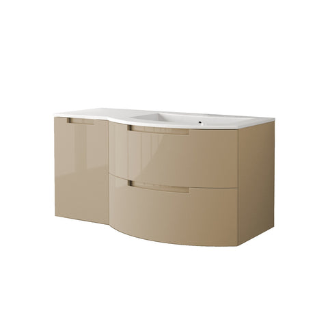"LaToscana Oasi 53"" Wall Mount Single Modern Bathroom Vanity with Two Soft Closing Drawers and Left Side Cabinet in Sand"