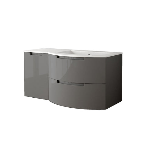 "LaToscana Oasi 53"" Wall Mount Single Modern Bathroom Vanity with Two Soft Closing Drawers and Left Side Cabinet in Slate Grey"