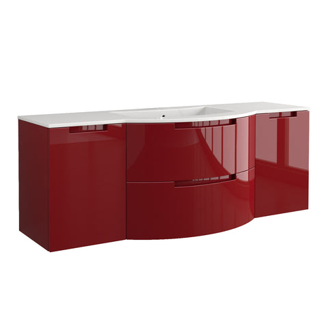 "LaToscana Oasi 57"" Wall Mount Single Modern Bathroom Vanity with Two Soft Closing Drawers and Doors in Red"