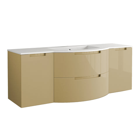 "LaToscana Oasi 57"" Wall Mount Single Modern Bathroom Vanity with Two Soft Closing Drawers and Doors in Sand"