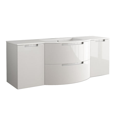 "LaToscana Oasi 57"" Wall Mount Single Modern Bathroom Vanity with Two Soft Closing Drawers and Doors in White"