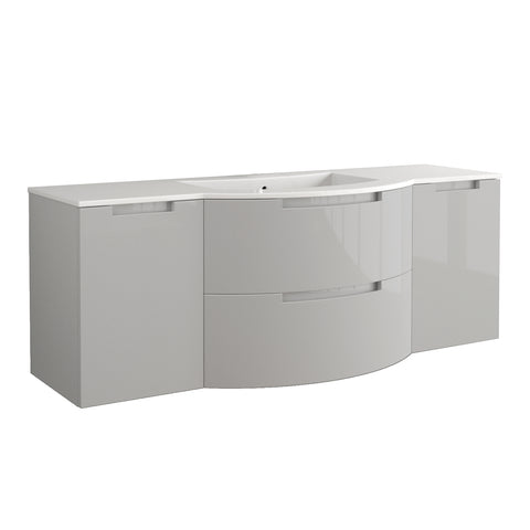 "LaToscana Oasi 67"" Wall Mount Single Modern Bathroom Vanity with Two Soft Closing Drawers and Doors in Grey"