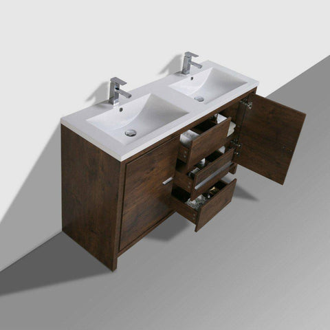 "Image of Moreno Mod 60"" Double Sink Rosewood Modern Bathroom Vanity - Bathroom Vanity Portal"