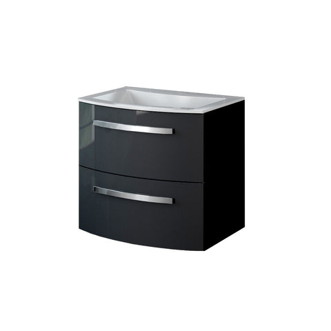 "LaToscana Palio 22"" Wall Mount Single Modern Bathroom Vanity with Two Soft Closing Drawers and Tekorlux Sink Top in Black"