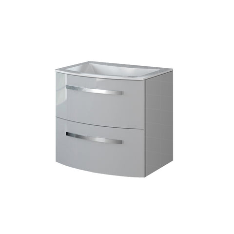 "LaToscana Palio 22"" Wall Mount Single Modern Bathroom Vanity with Two Soft Closing Drawers and Tekorlux Sink Top in Grey"
