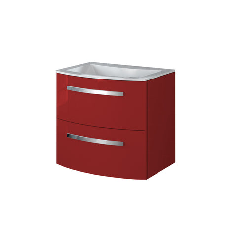 "LaToscana Palio 22"" Wall Mount Single Modern Bathroom Vanity with Two Soft Closing Drawers and Tekorlux Sink Top in Red"