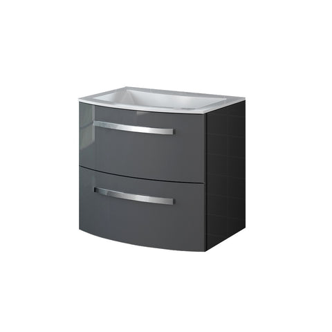 "LaToscana Palio 22"" Wall Mount Single Modern Bathroom Vanity with Two Soft Closing Drawers and Tekorlux Sink Top in Slate Grey"