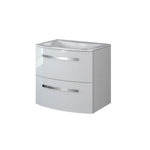 "LaToscana Palio 22"" Wall Mount Single Modern Bathroom Vanity with Two Soft Closing Drawers and Tekorlux Sink Top in White"