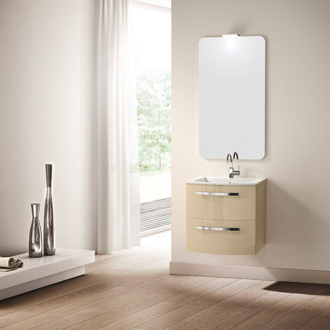 "LaToscana Palio 22"" Wall Mount Single Modern Bathroom Vanity with Two Soft Closing Drawers and Tekorlux Sink Top in Sand"