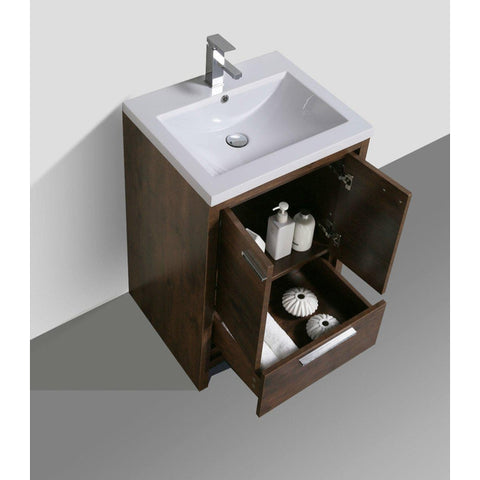 Moreno Bath Dolce 23.5 Inch Rosewood Modern Vanity with Reinforced Acrylic Sink