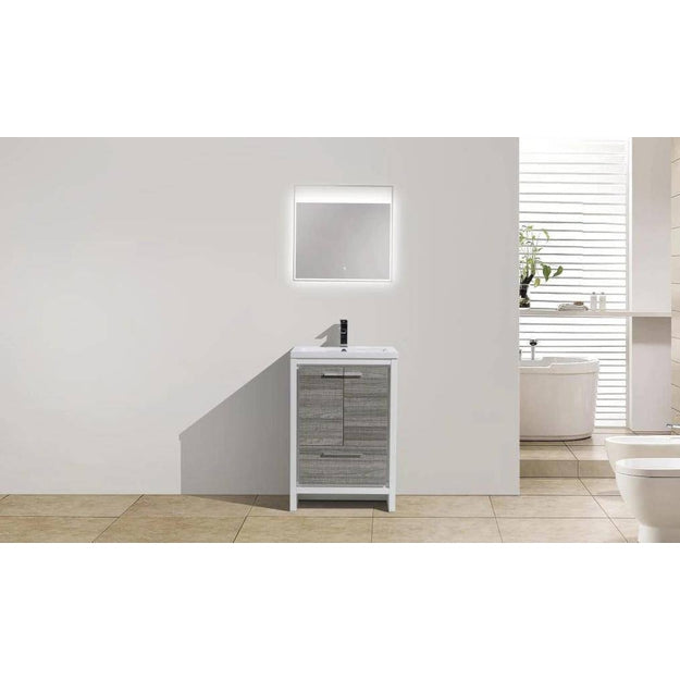 "Moreno Mod 24"" High Gloss Ash Gray Modern Bathroom Vanity - Bathroom Vanity Portal"