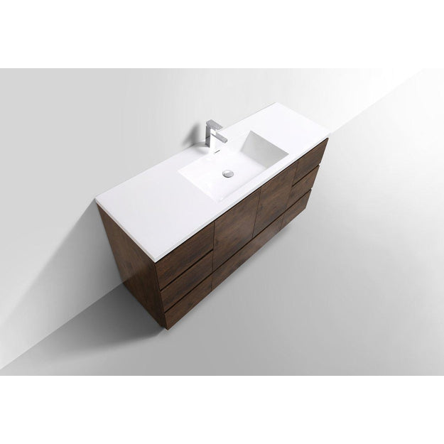 Moreno Bath Angeles 58.75 Inch Modern Brown Rosewood Vanity with Reinforced Acrylic Sink