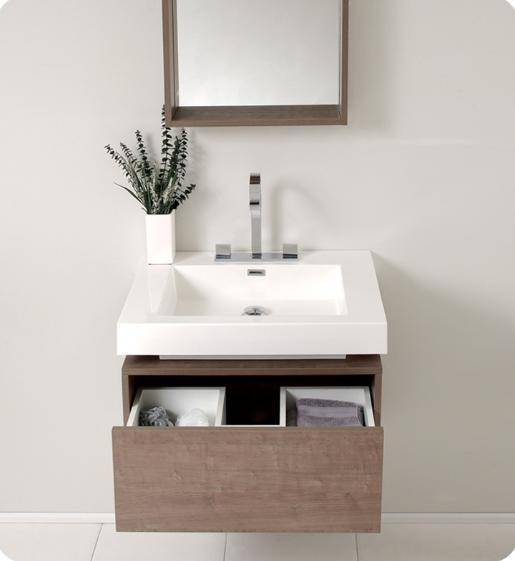 Fresca Potenza Gray Oak Modern Bathroom Vanity w/ Pop Open Drawer - Bathroom Vanity Portal