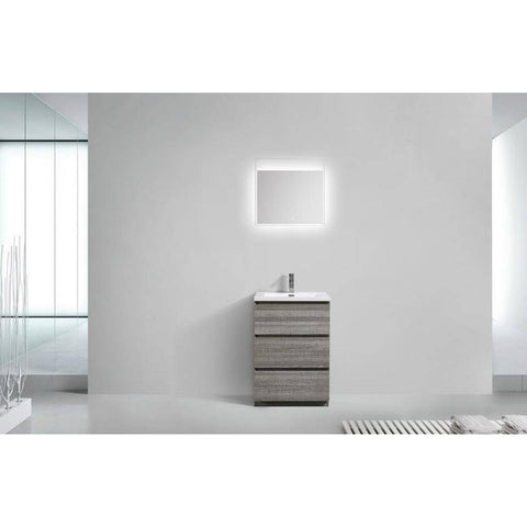 "Image of Moreno MOA 24"" High Gloss Ash Grey Bathroom Vanity - Bathroom Vanity Portal"