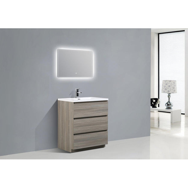 Moreno Bath Angeles 29.4 Inch Matte Grey Modern Vanity with Reinforced Acrylic Sink
