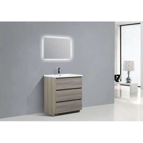 Image of Moreno Bath Angeles 29.4 Inch Matte Grey Modern Vanity with Reinforced Acrylic Sink