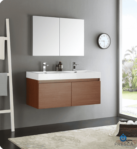 Image of Fresca Mezzo 47.3 Inch Teak Wall Hung Double Sink Modern Bathroom Vanity with Medicine Cabinet