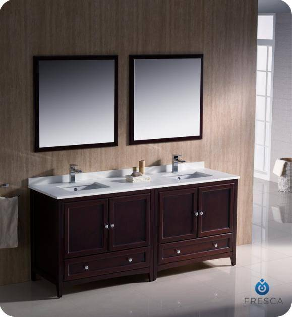 "Fresca Oxford 72"" Mahogany Traditional Double Sink Bathroom Vanity - Bathroom Vanity Portal"