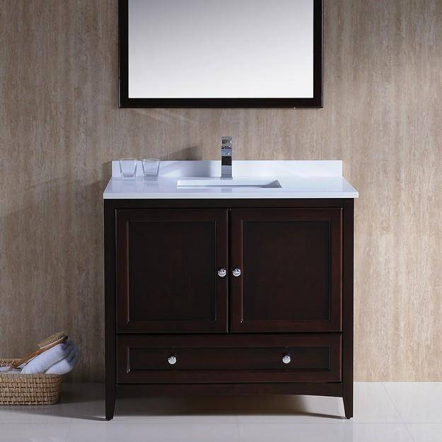 "Fresca Oxford 36"" Mahogany Traditional Bathroom Vanity - Bathroom Vanity Portal"