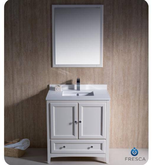 "Fresca Oxford 30"" Antique White Traditional Bathroom Vanity - Bathroom Vanity Portal"