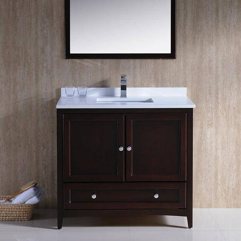 "Image of Fresca Oxford 36"" Mahogany Traditional Bathroom Vanity - Bathroom Vanity Portal"