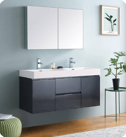 "Image of Fresca Valencia 48"" Dark Slate Gray Wall Hung Double Sink Modern Bathroom Vanity with Medicine Cabinet - Bathroom Vanity Portal"
