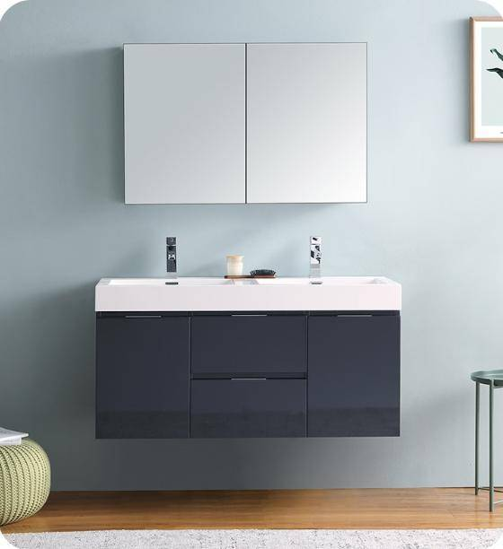 "Fresca Valencia 48"" Dark Slate Gray Wall Hung Double Sink Modern Bathroom Vanity with Medicine Cabinet - Bathroom Vanity Portal"