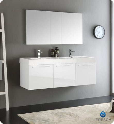 Fresca Vista 59 Inch White Wall Hung Double Sink Modern Bathroom Vanity with Medicine Cabinet