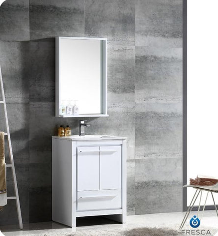 Image of Fresca Allier 23.5 Inch White Modern Bathroom Vanity w/ Mirror