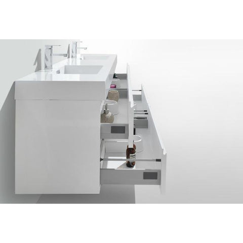 Moreno Bath Fortune 78.75 Inch High Gloss White Wall Mounted Modern Vanity with Double Acrylic Sinks