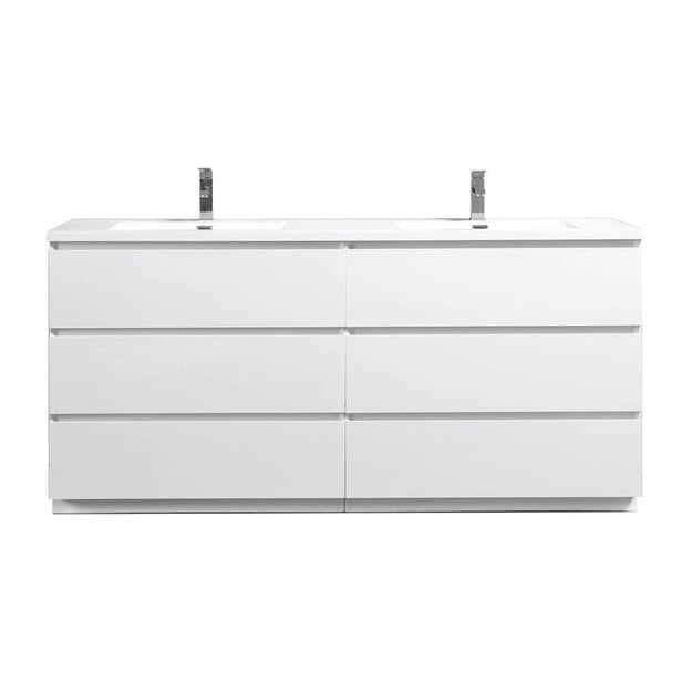 Moreno Bath Angeles 70.5 Inch Modern High Gloss White Vanity with Double Reinforced Acrylic Sinks