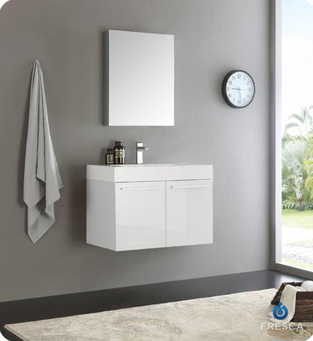 Fresca Vista 29.5 Inch White Wall Hung Modern Bathroom Vanity with Medicine Cabinet