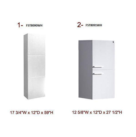 Image of Fresca Mezzo 35.4 Inch White Wall Hung Modern Bathroom Vanity with Medicine Cabinet