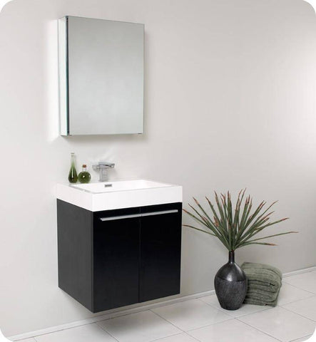 Image of Fresca Alto 22.5 Inch Black Modern Bathroom Vanity with Medicine Cabinet