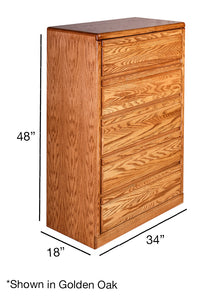 Bullnose Golden Five Drawer Chest: 34W x 48H x 18D