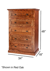 Mission Five Drawer Chest: 34W x 48H x 18D