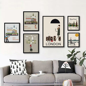 City Cartoon Canvas ( 12 Piece Set )